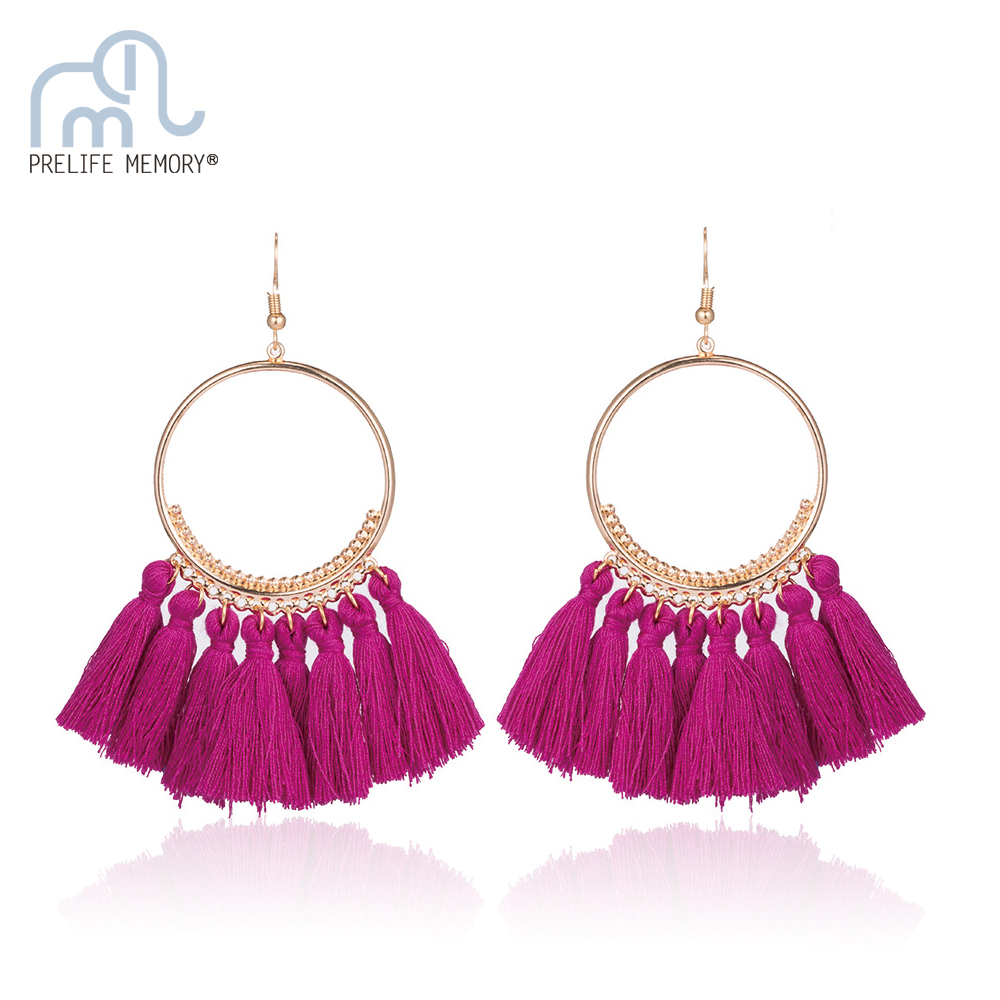 Prelife Memory Bohemian Handmade Tassel Earrings Big Circle Vintage Drop Fringe Earrings Brushes Women Earrings Jewelery
