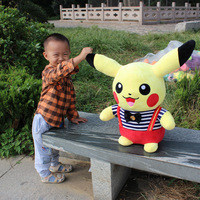 pokeon genius about 45cm pikachu plush toy dressed design pikachu doll soft pillow birthday gift b4960