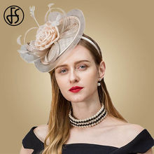 429ba4f509a8f FS Fascinator Hat Elegant For Weddings Sinamay Women Derby Hats With Feather  Champagne Pillbox Caps Classic Linen Fedoras