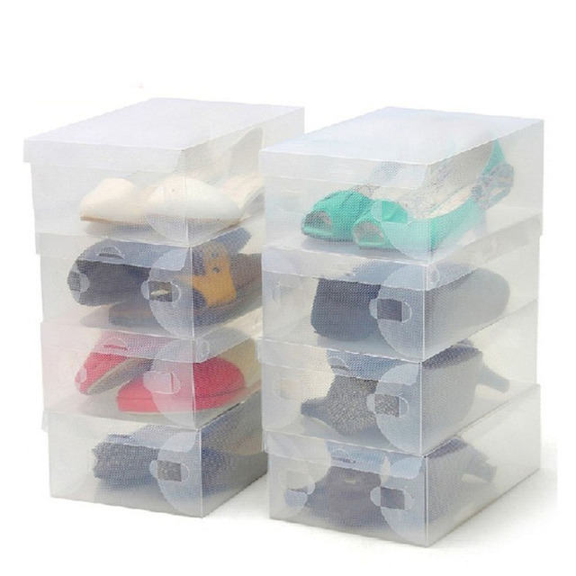 Useful 10Pcs Transparent Clear Plastic Shoes Storage Boxes Foldable Shoes  Case Holder Portable Home Storage Boxes