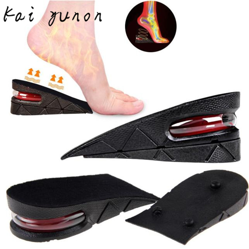 kaiyunon Men Women Shoe Insole Air Cushion Heel insert Increase Taller Height Lift 5cm Sep 12 2016 2 pcs invisible shoe taller insole 6 color increasing height short helper half lift air 2 5cm cushion insert 6 colors