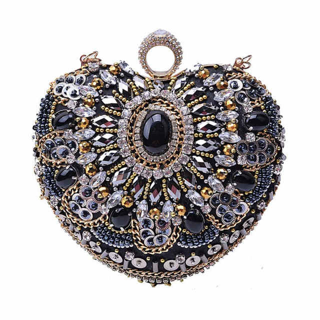 9424190460 2017 Date Femmes De Luxe À La Main Bijou Diamants Perlé Cru Embrayage sac  de Soirée