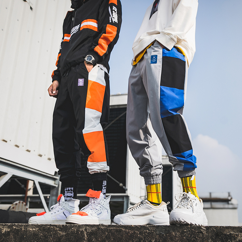 Men Jogger pants 100% Polyester Spliced