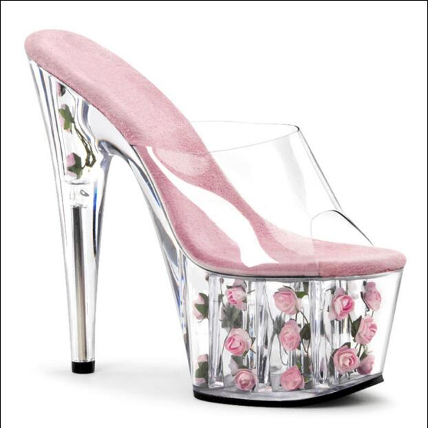 ФОТО Sexy slippers women wedding shoes 15/17 cm high transparent heels and 7 cm platform flower decoration perspex shoes pink red
