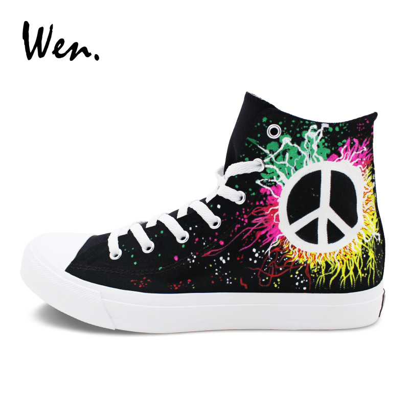 Wen Classic Black Canvas Sneakers Design Peace Symbol Hand Painted Shoes Men Women's Sport Flat Lace up High Skate Shoes wen men women sneakers white anime design tokyo ghouls hand painted canvas shoes classic athletic sport skate flat