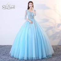 QSYYE Blue Ball Gown Long Prom Dresses Elegant V Neck Long Sleeve 3D Floral Flower Floor Length Tulle Evening Dress Party Gown