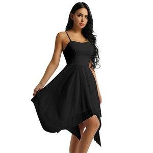 Image 2 - למבוגרים נשים אלגנטי עכשווי Dancewear בלט בגדי גוף לנשים ספגטי רצועת אסימטרית שיפון סלוניים שמלת ריקוד חדש