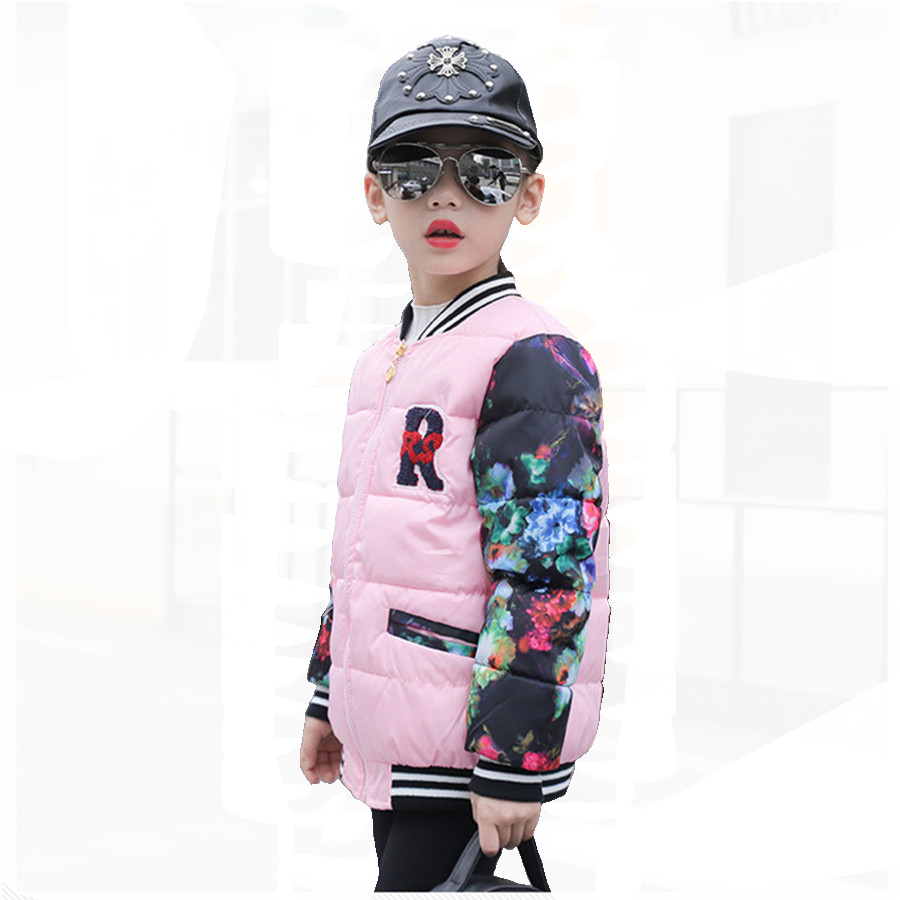Winter Jacket For Girls Fashion Print Flower Baseball Children Spring Warm Parkas Kids Pretty girls Padded Coats 2017
