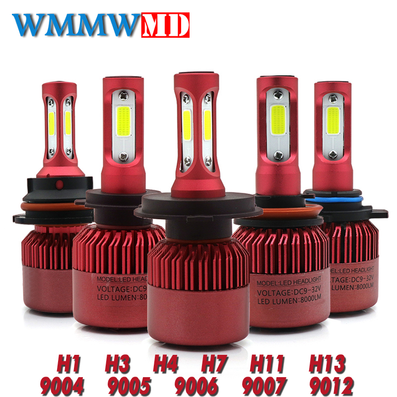 LED H4 Auto Scheinwerferlampe Canbus H7 72 Watt 8000LM H1 H3 HB3 9005 HB4 9006 9012 12 V Automobil scheinwerfer Conversion Kit H4 Hallo-Lo Strahl