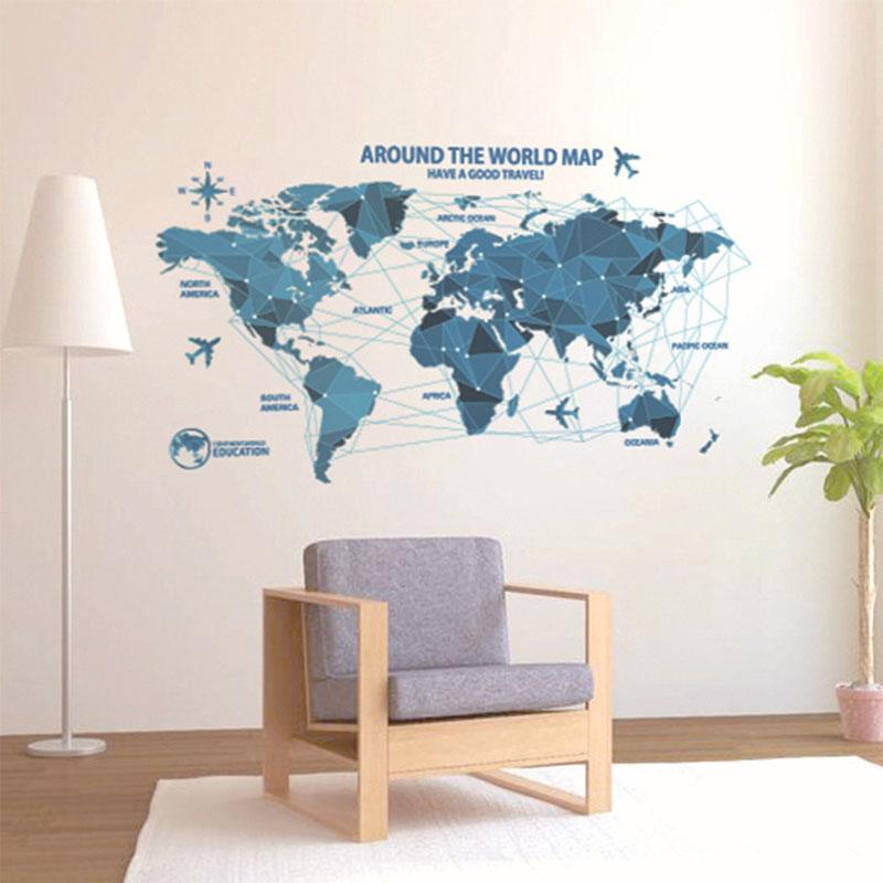 Vinil Elm və Texnologiya Dünya xəritəsi Divar bəzəkləri Qonaq - Ev dekoru - Fotoqrafiya 4