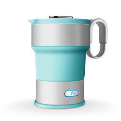 DMWD Newest 0.6L Folding Electric Kettle 220V Travel Portable Water Heater Boiler With Folding Cup Food Grade Silicone