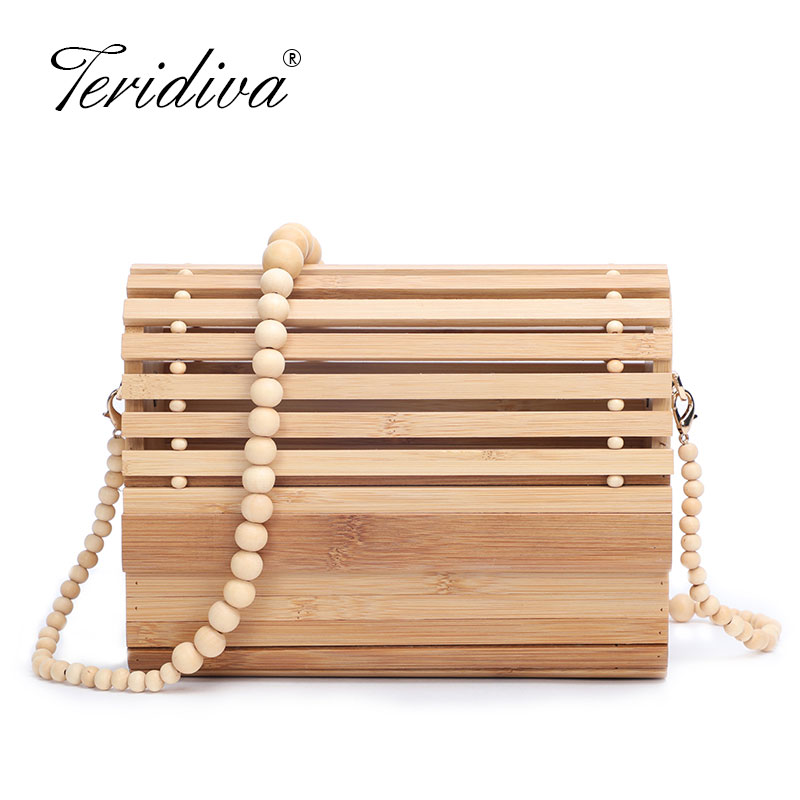 Purse Tote-Bag Wooden Evening-Clutch Rattan The Weaving Carries Retro Lady New