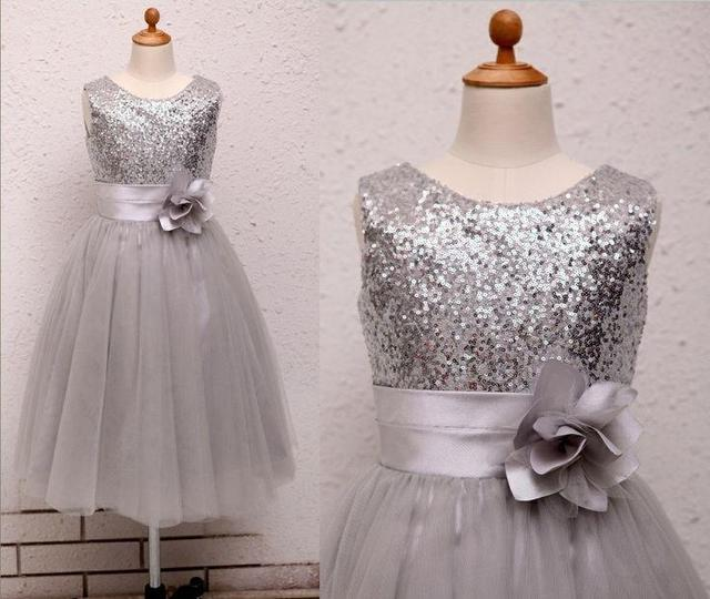 ae1e3cd12 Silver Ivory Sequins Flower Girl Dress Baby Infant Toddler Kids ...