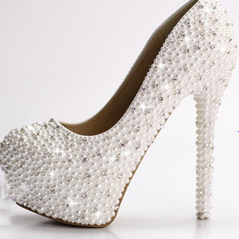 Luxury 4Inches high heel full Pearls lady's formal Jeweled Women's Beaded Bridal Evening Wedding Prom Party Bridesmaid shoes gorgeous full pearls high heel lady s formal jeweled women s beaded bridal evening wedding prom party bridesmaid shoes