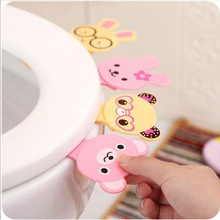 Cute Cartoon Toilets Lid Handle Creative Portable Not Dirty Hands Uncovery Flip Lid Toilet Cover Home Toilet Accessory