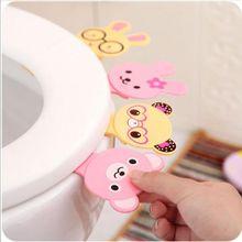 かわいい漫画トイレ蓋ハンドルクリエイティブポータブル汚れていない手 Uncovery フリップ蓋トイレカバーホームトイレアクセサリー