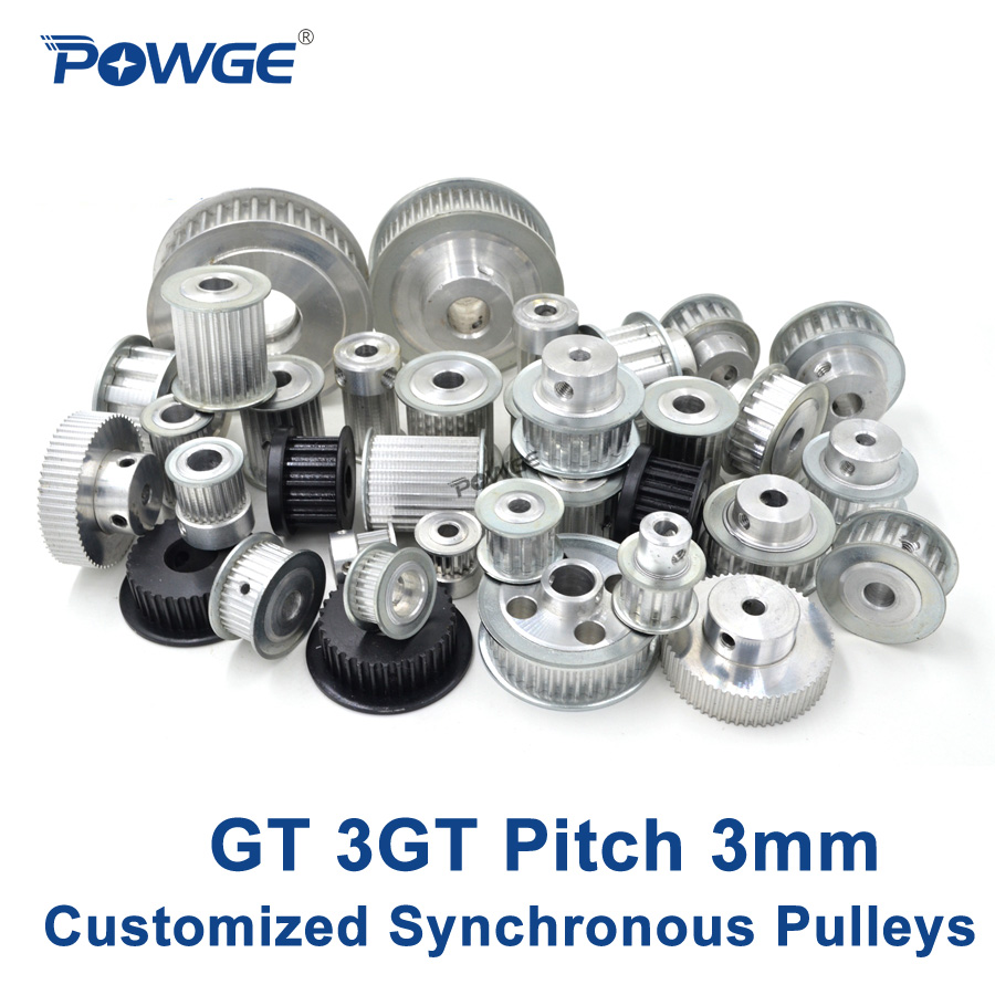 POWGE High torque GT 3GT Synchronous pulley pitch 3mm wheel Gear Manufacture Customized all kinds of 3GT Timing pulley Belt цена