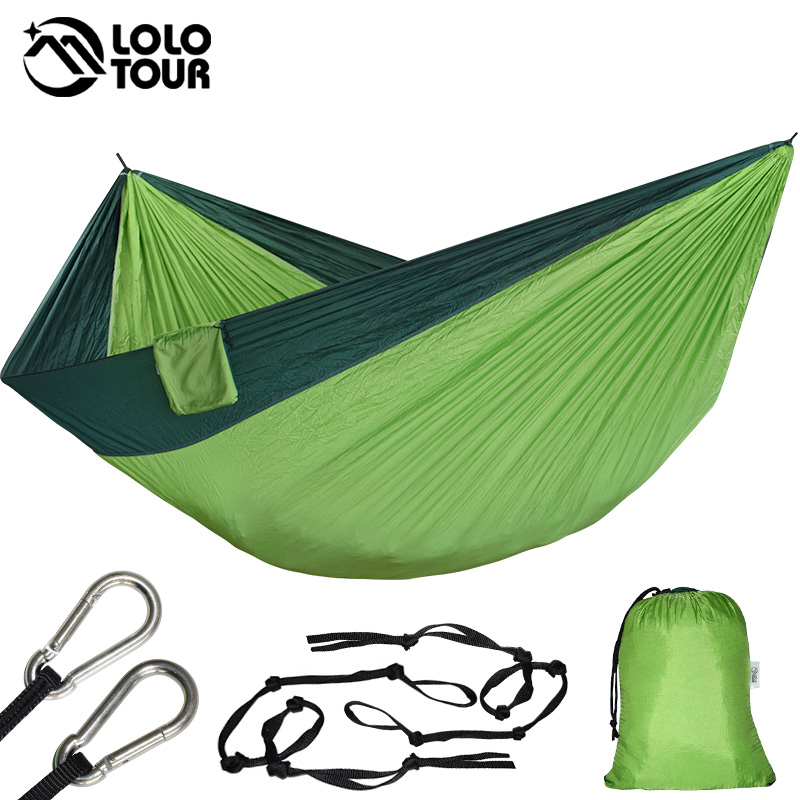 Portable Parachute Double Large Hammock Hang Garden Outdoor Camping Travel Swing Sleeping Bed Tools Hamaca 320*200cm RU-368