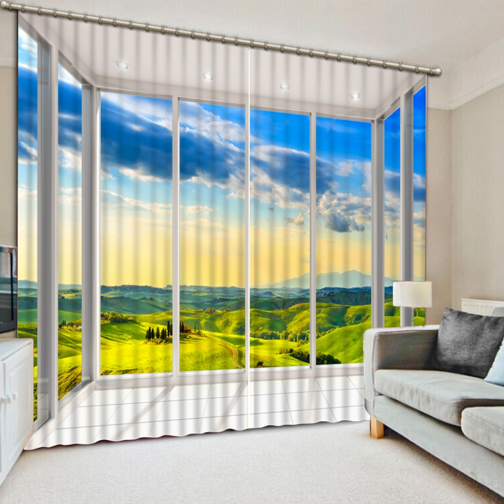 Decorative Door Curtain Landscape Window Curtains For Living room Luxurious Curtains For Doorways