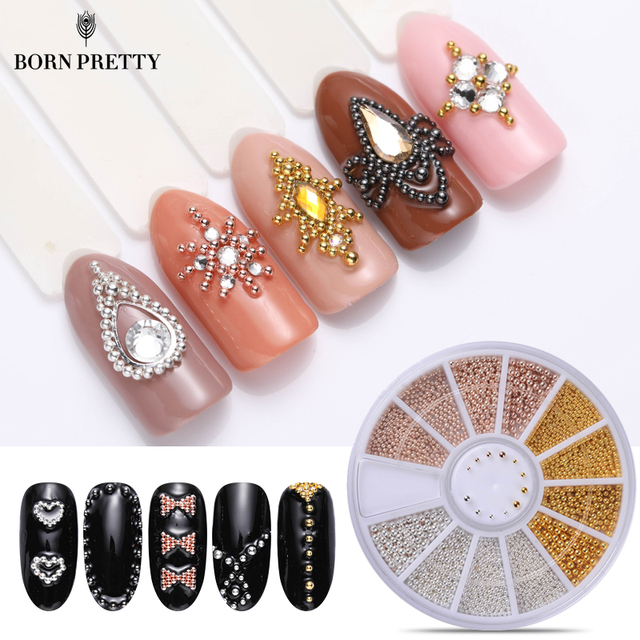 1 Box Steel Beads Nail Studs Mini Steel Bead Multi-size Gold Sliver Champagne Glitter Mixed 3D Nail Art Decorations In Wheel