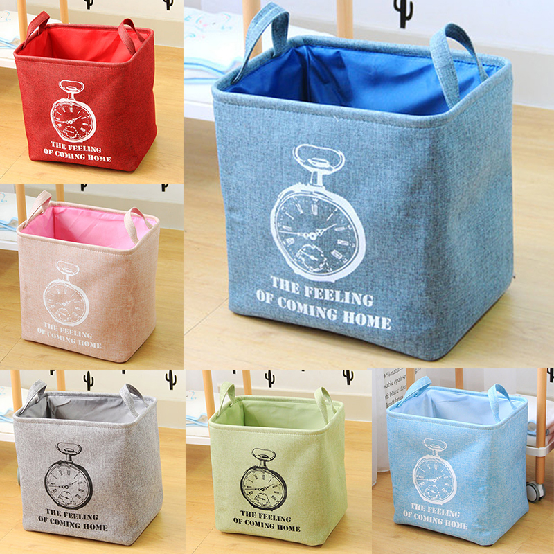 Practical Square Laundry Basket Style Washing Clothes Storage Bag Basket Storage Toy Bag Home Supply