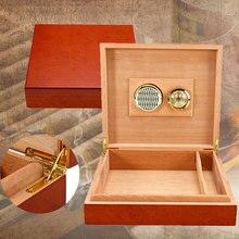 Деревянный коричневый кедр выстроились сигары Humidor увлажнитель для сигар с гигрометром чехол коробка измеритель влажности увлажняющее устройство