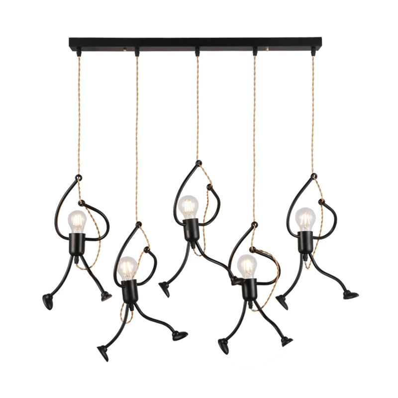 Wrought Iron Monkey Lamp Kitchen Lighting Modern Bar Light Fixture Industrial Pendant Light Decorations for Home Hanging Lamps