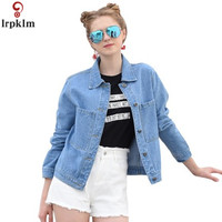 Women's Fashion Denim Jacket 2018 New Spring And Autumn Student Baseball Loose blue ladies denim jacket LZ729