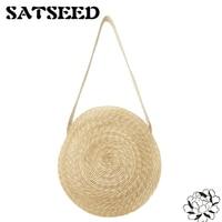 Natural Wheat Straw Bags Circle Shoulder Bags Straw Crossbody Bags Versatile Circular Straw Bag