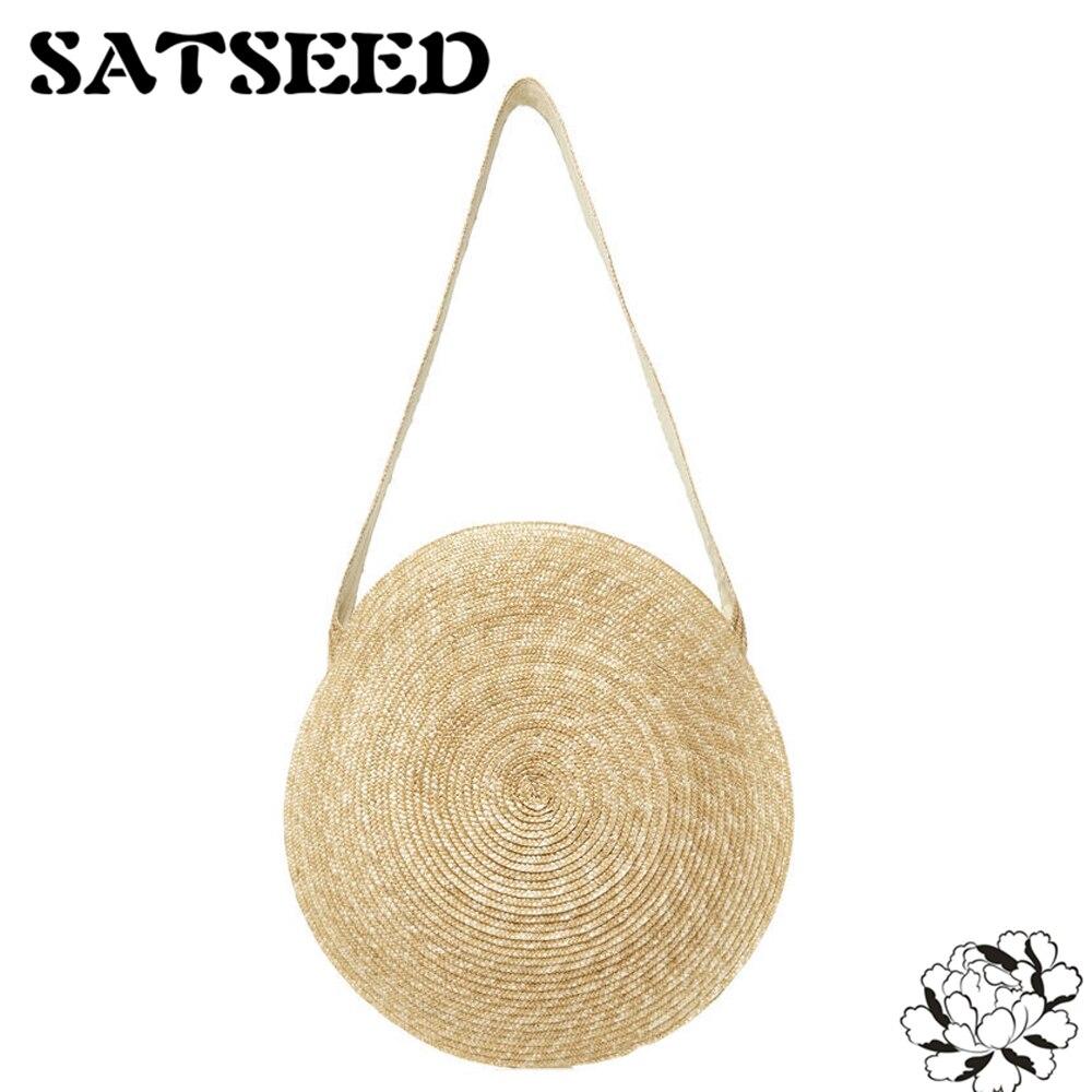 Natural Wheat Straw Bags Circle Shoulder Bags Straw Crossbody Bags Versatile Circular Straw Bag 109 wheat
