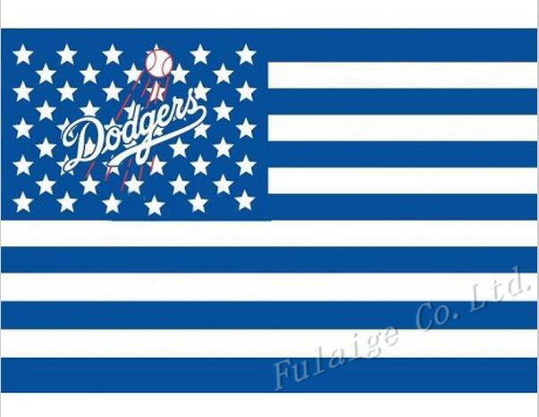 Los Angeles Dodgers logo flag 3ftx5ft Banner 100D Polyester MLB Flag Brass Grommets