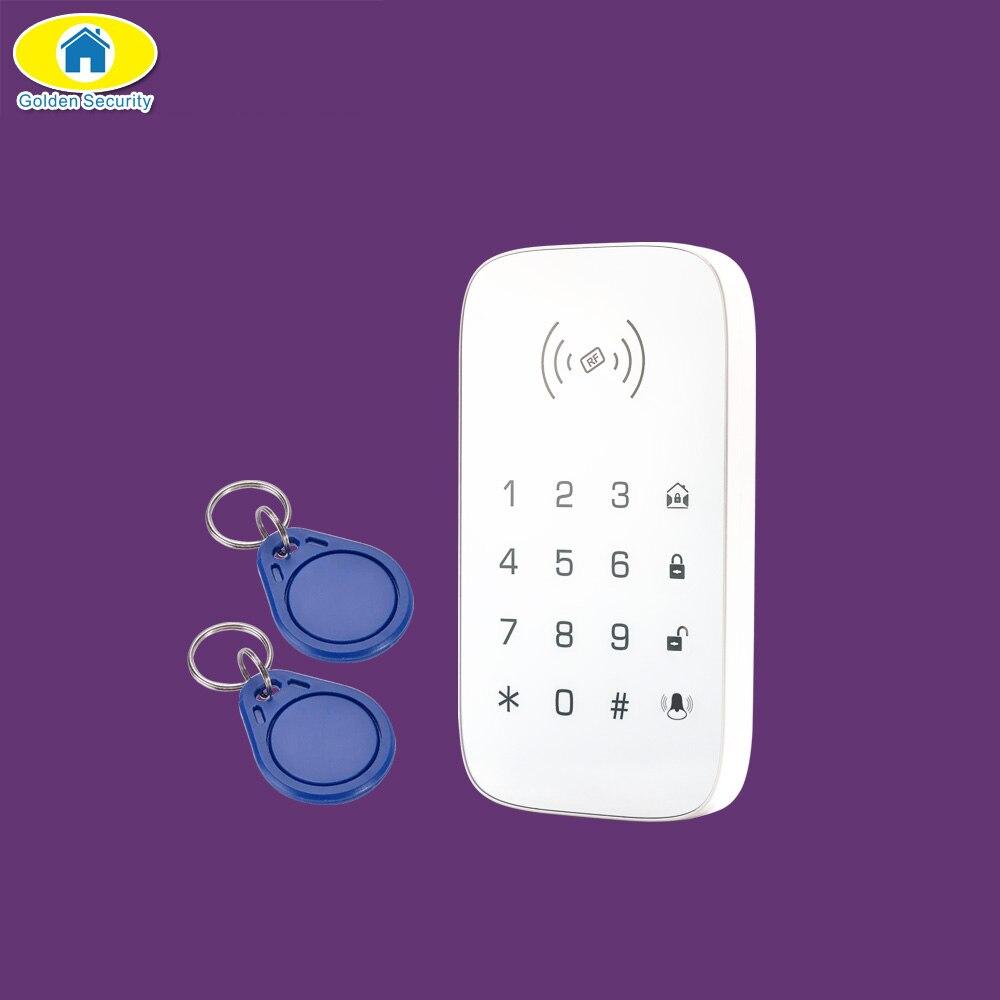 Güvenlik ve Koruma'ten Alarm Klavye'de Altın Güvenlik K07 Kablosuz RFID Kapı Zili 2 adet RFID etiket Dokunmatik Klavye G90B Artı GSM WiFi Ev Alarm Sistemi güvenlik Sistemi title=