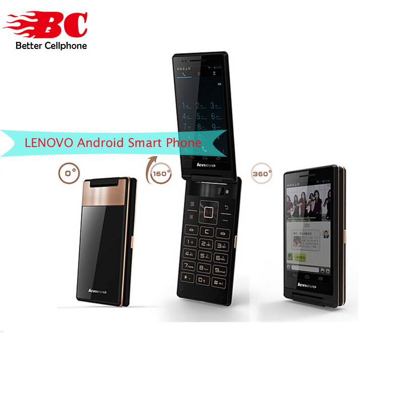 Original Lenovo A588T Flip Mobile Phone Android 4.4 MTK6582 Quad Core 512MB RAM 4GB ROM Dual Sim 4 Touch Screen 5.0MP Camera