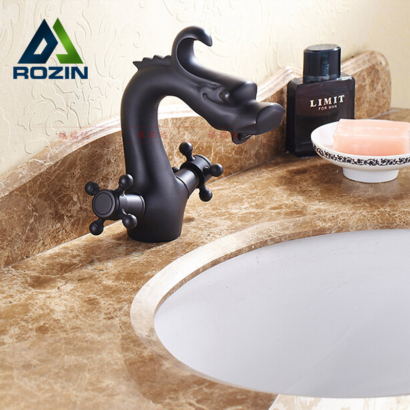 ФОТО Creative Dragon Shape Bathroom Basin Mixers Two Cross Handles Hot and Cold Water Basin Faucet