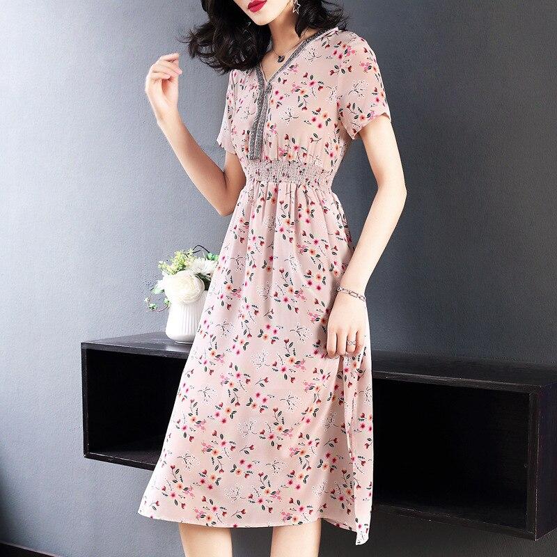 Шелковое платье 2019 Весна осень Женские Длинные повседневные sexy шифон богемное пляжное платье плюс большие размеры розовый узкое, с цветочн