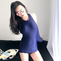 Monokini 2017 One Piece Swimsuit Padding Women Solid Blue Crotch Bottom Zipper Swimwear Bodysuit Bare Hands