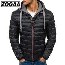 ZOGAA Men Jacket Coats Thicken Warm Winter Windproof Jackets Hooded Outwear Cotton-padded Jacket Zipper Hip Hop Cotton Hooded недорого