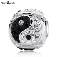 Authentic Original 925 Sterling Silver Charm Ying Yang Taiji With Full Crystal Beads Fit Pandora Bracelets