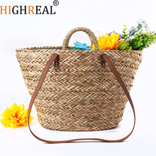 HIGHREAL Women Handbag Summer Beach Tote Bag Handmade Rattan Woven Handbag Vintage Retro Straw Knitted Messenger Bag