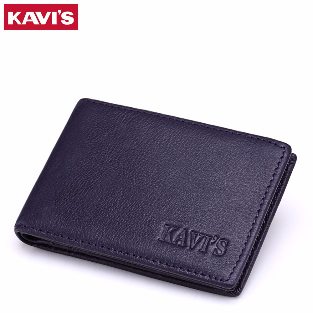 KAVIS Brand Business Credit Card Holder Mini Wallet Bags 100% Genuine Leather Bank Card  ...