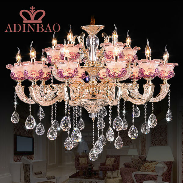 Modern Pink Crystal Lights Crystal Chandeliers Pendant Lamp Dining Room Living Lobby lamp Lighting E14 LED Candle Bulb 8531-10+5