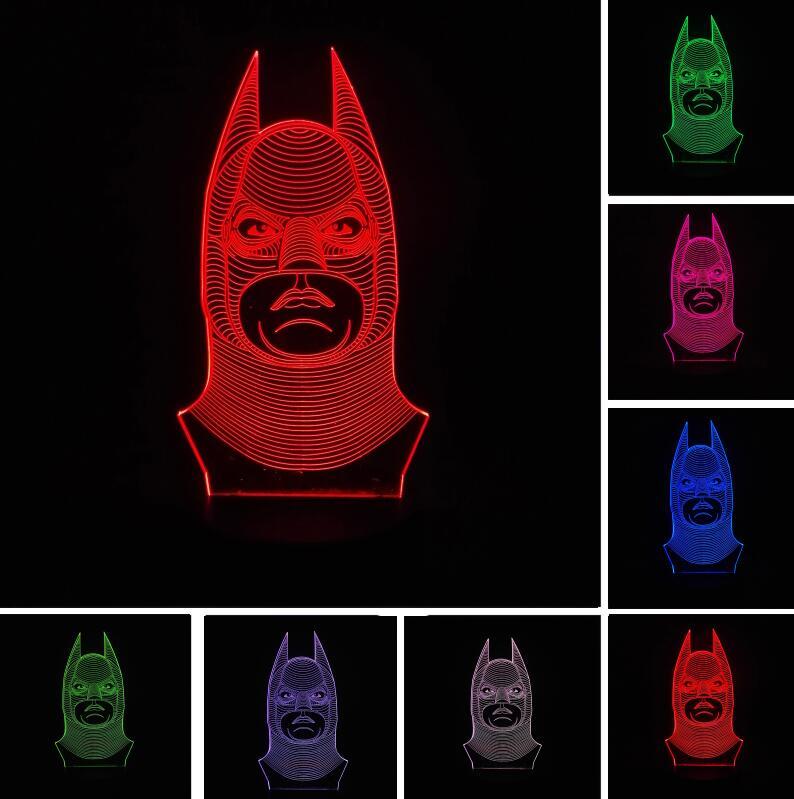 Amroe Childrens Day Cartoon 3D Batman 7 Colors Change Optical Illusion LED Night Light Lamp lustre Bedroom Baby Creative Gift
