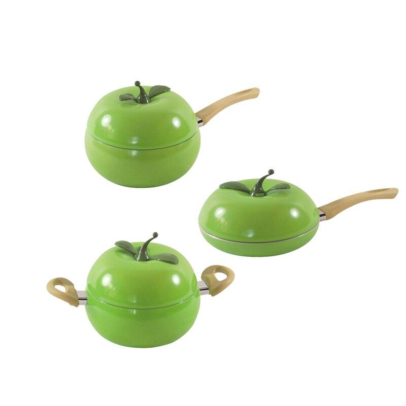 Pots for Kitchen Soup Pot Fruit Pan Aluminum non stick Apple Shape no fumes Kitchen Tools Cookware