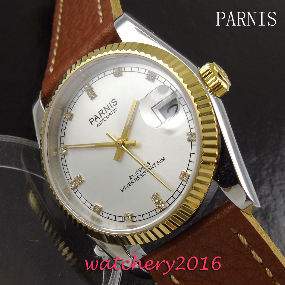 36mm Parnis white dial date sapphire glass 21 jewels miyota mens watches top brand luxury automatic mechanical Men's Watch