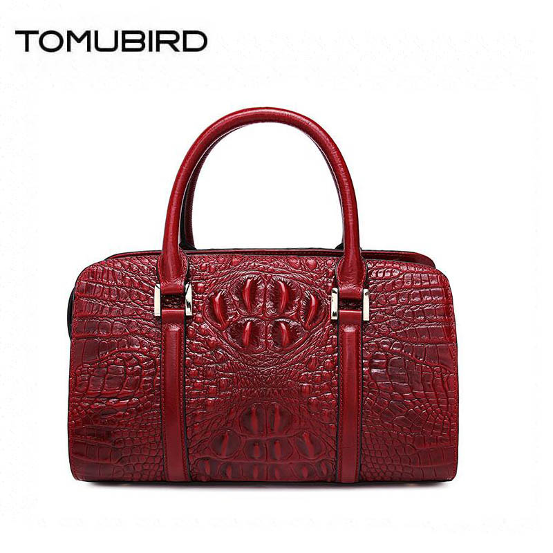 TOMUBIRD 2018 new superior leather designer brand women bags fashion Crocodile embossing genuine leather handbags women tote bag 2018 new superior cowhide leather classic designer hand embossing top leather tote women handbags genuine leather bag medium bag