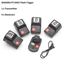 WanSen PT-04GY  4 Channels Wireless Flash Trigger Transmitter SET with 4 Receivers for Canon Nikon Pentax Olympus цена 2017