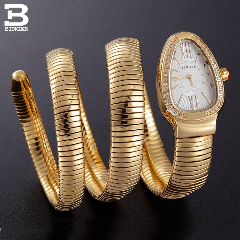 Suisse BINGER Femmes montres De Luxe Marque Dames Quartz Montre Serpent Forme Saphir d'or Montres Étanches B6900-5