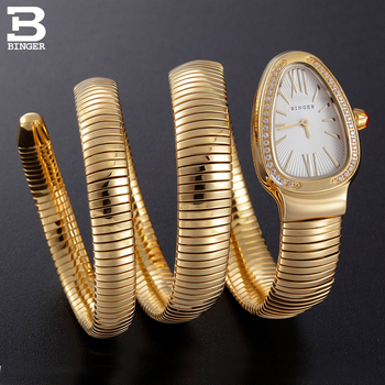 Switzerland BINGER Women watches Luxury Brand Ladies Quartz Watch Snake Shape Sapphire golden Waterproof Wristwatches B6900-5 Маникюр