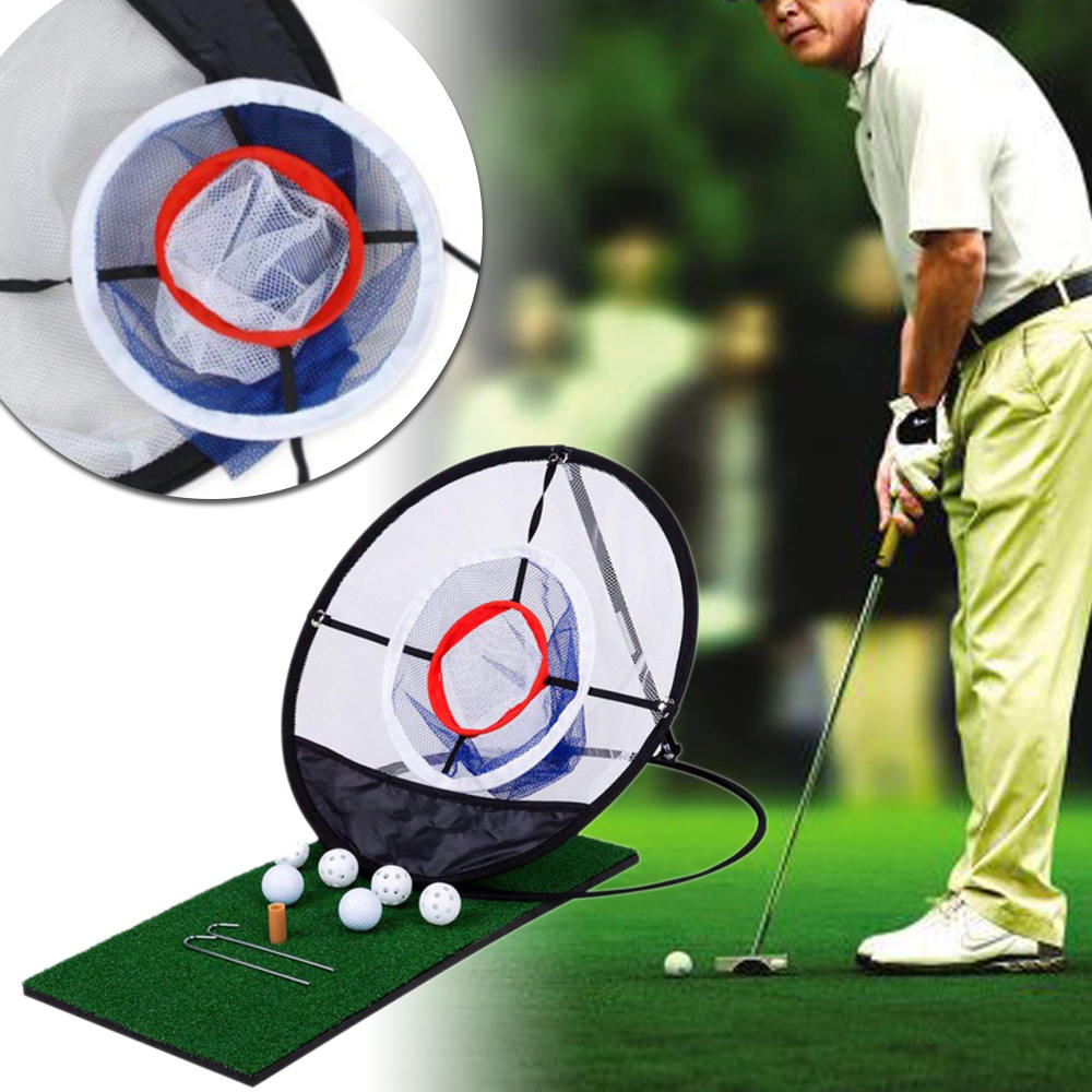 Image 5 - New Golf Pop UP Indoor Chipping Pitching Cages Mats Practice Easy Net Golf Training Aids Metal + Net Outdoor Tools-in Golf Training Aids from Sports & Entertainment