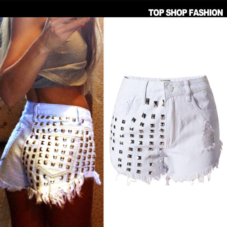 Shorts   High Waist 2018 Summer For Denim Jeans Women Cool Casual Clothes Sequin Plus Big Size Korean fashion Bermuda